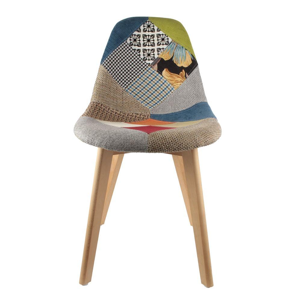chaise scandinanve patchwork lot de 2 multicolore. Black Bedroom Furniture Sets. Home Design Ideas