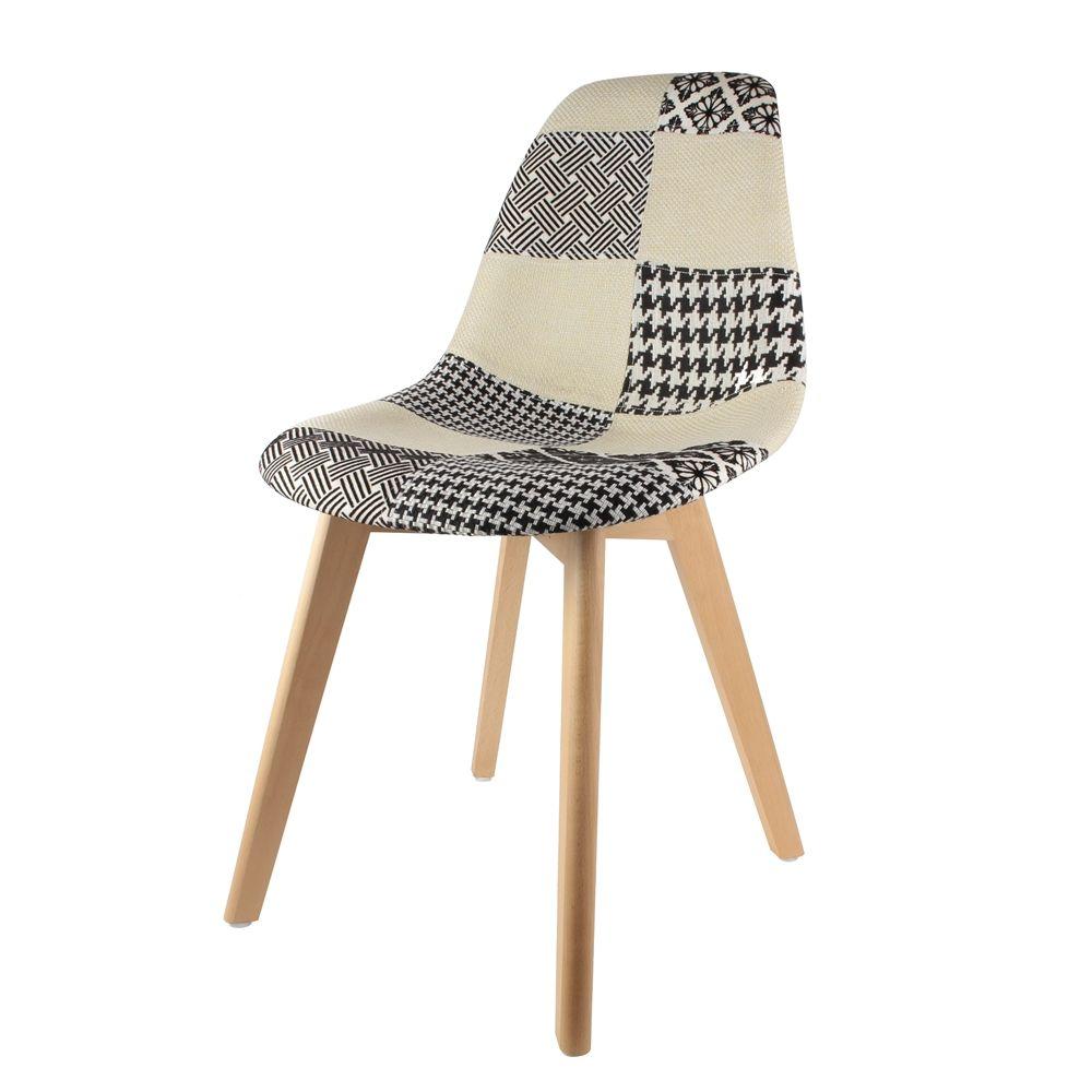 chaise scandinanve patchwork noir blanc. Black Bedroom Furniture Sets. Home Design Ideas
