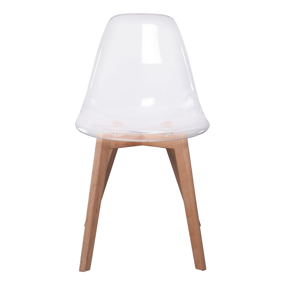 Chaise scandinave coque transparente - Chaise moderne avec table rustique ...
