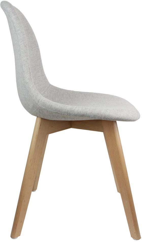 Chaise scandinave en tissu gris et pieds en bois Chaise en tissu gris