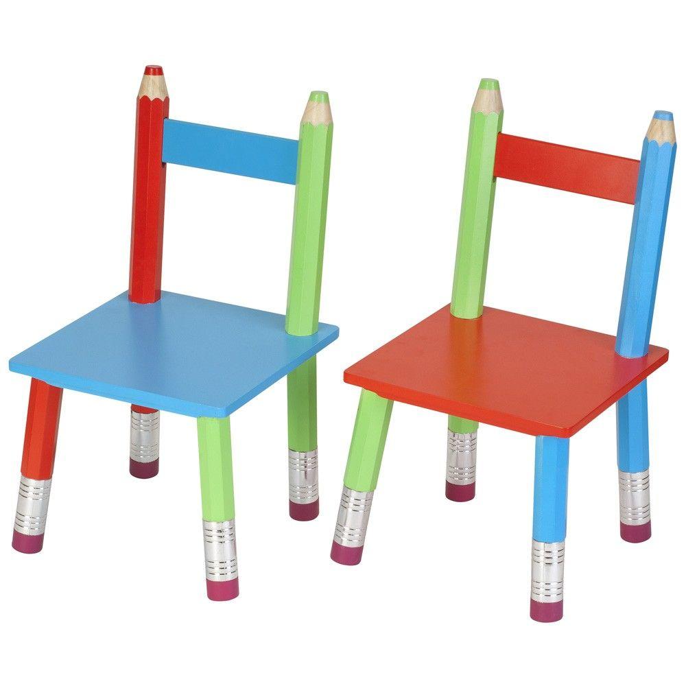 Chaises crayons pour enfant lot de 2 for Table et chaise de jardin enfant