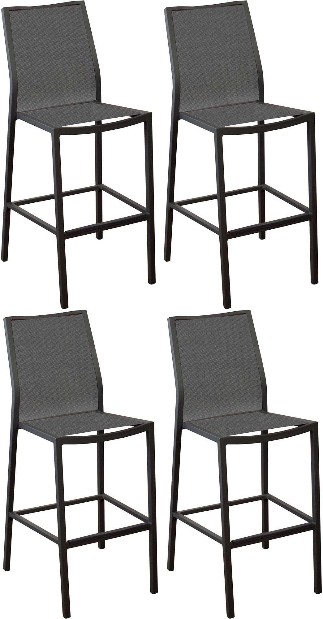 chaises de bar en aluminium ida lot de 4 gris. Black Bedroom Furniture Sets. Home Design Ideas