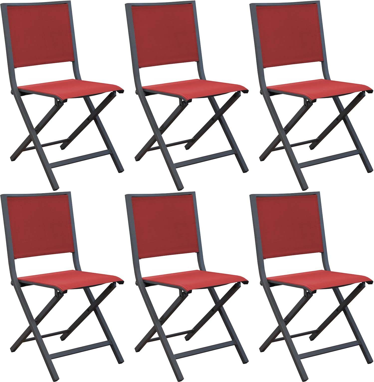 Chaises pliantes en aluminium Ida (Lot de 6) (Gris, Rouge)