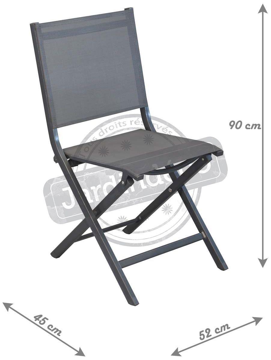 Chaises pliantes en aluminium thema lot de 6 gris noir for Lot de 6 chaises conforama