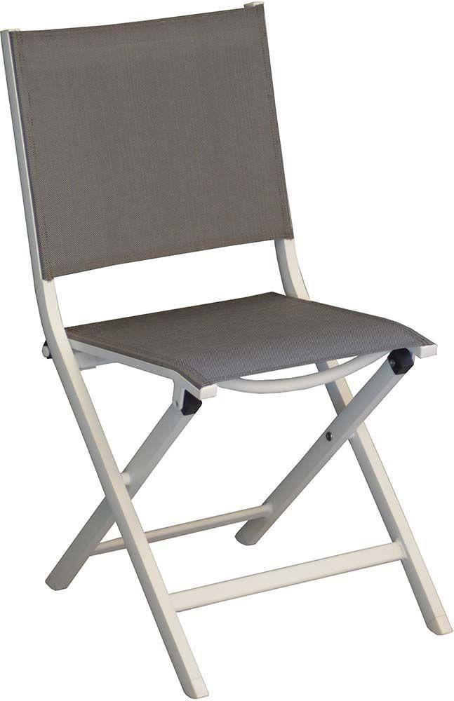 chaises pliantes en aluminium thema lot de 6 blanc argent. Black Bedroom Furniture Sets. Home Design Ideas