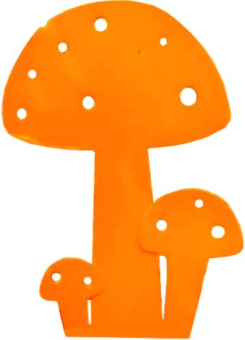 Champignon déco en métal orange by