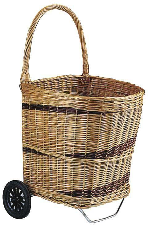 chariot bois en osier buff sur roulettes. Black Bedroom Furniture Sets. Home Design Ideas