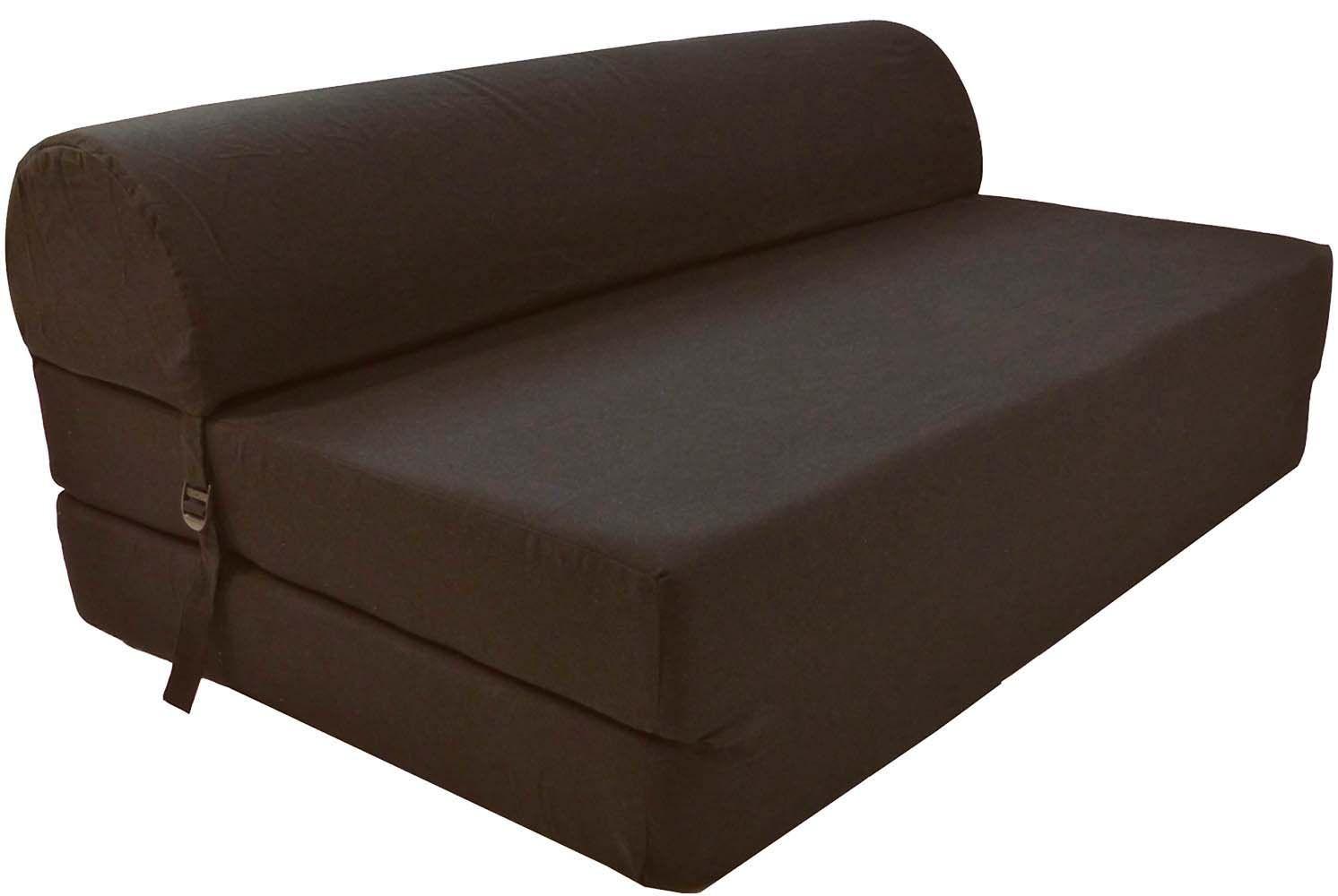 chauffeuse double unie en coton marron. Black Bedroom Furniture Sets. Home Design Ideas