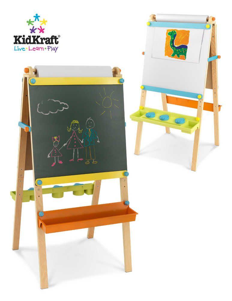 Chevalet de dessin en bois pour enfant avec rouleau pap