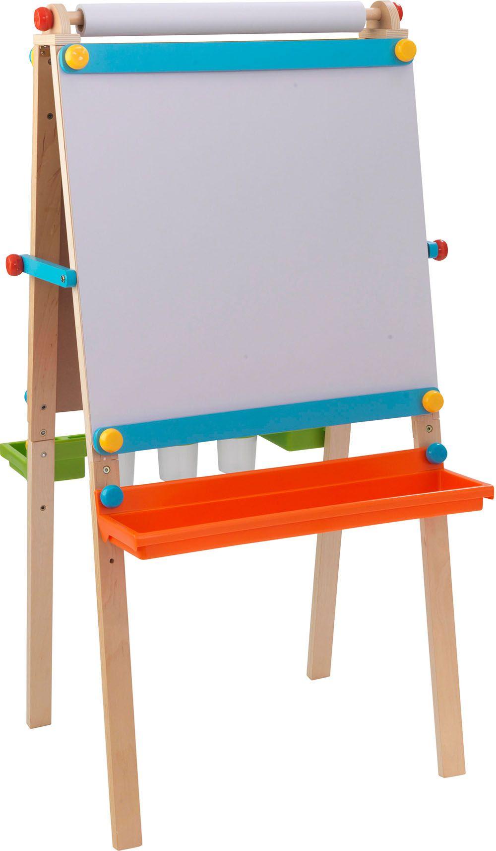 Chevalet de dessin en bois pour enfant avec rouleau pap - Table a dessin enfant ...
