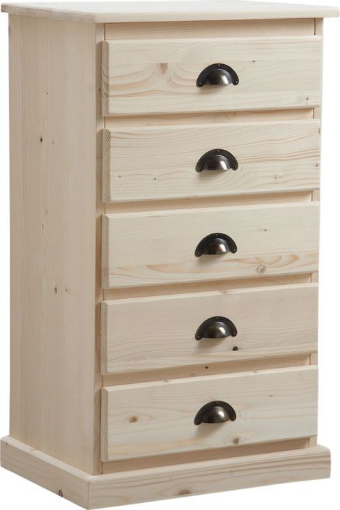 Chiffonnier en bois brut 5 tiroirs for Petit meuble a tiroirs en bois brut