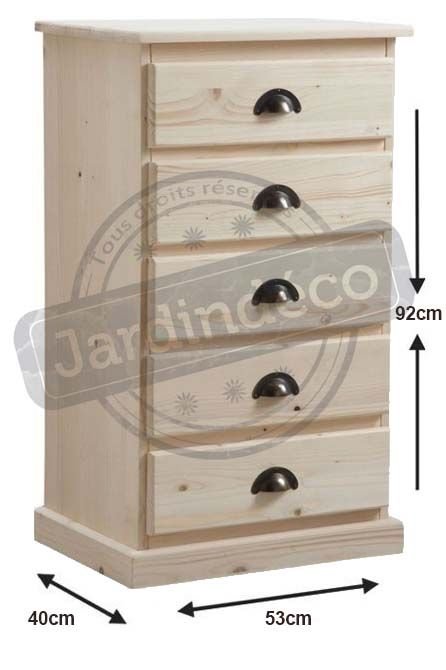 chiffonnier en bois brut 5 tiroirs. Black Bedroom Furniture Sets. Home Design Ideas