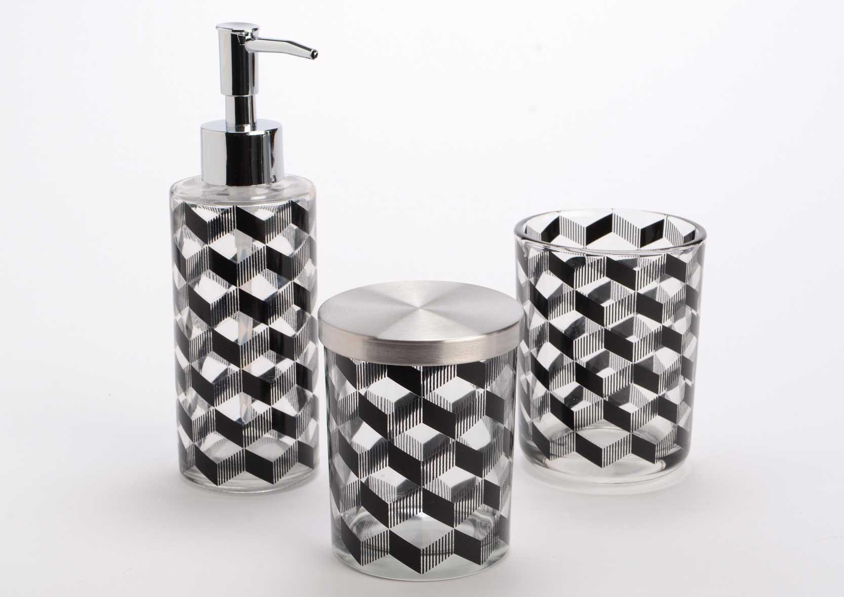Coffret 3 accessoires salle de bain noir for Accessoire salle de bain noir