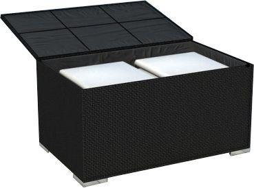 coffre de jardin r sine tress e noire. Black Bedroom Furniture Sets. Home Design Ideas