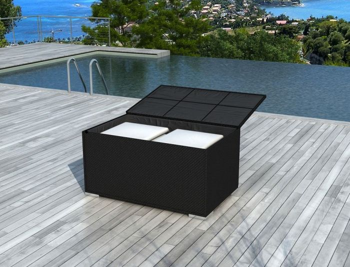 coffre de jardin r sine tress e noire. Black Bedroom Furniture Sets. Home Design Ideas