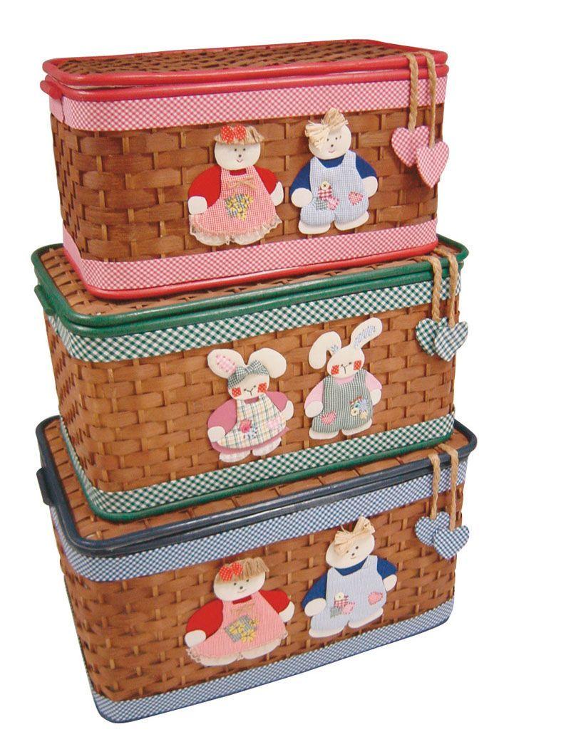 Coffre jouets en bambou marron lot de 3 - Coffre a jouet en osier ...