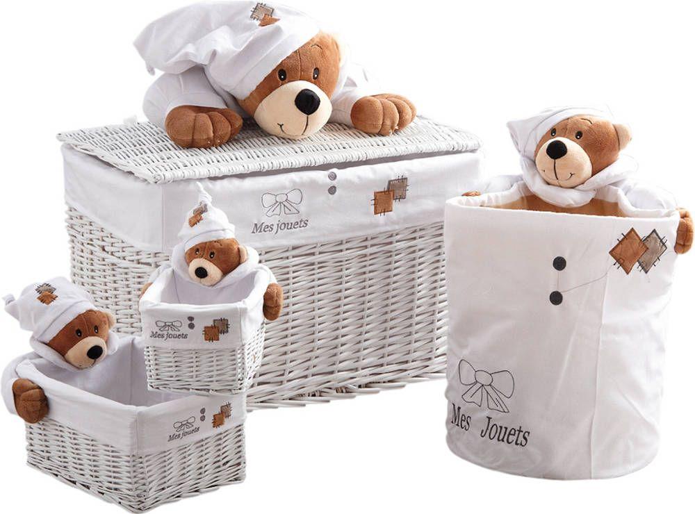 Coffre jouets et 3 corbeilles mes jouets ourson - Coffre a jouet ikea blanc ...