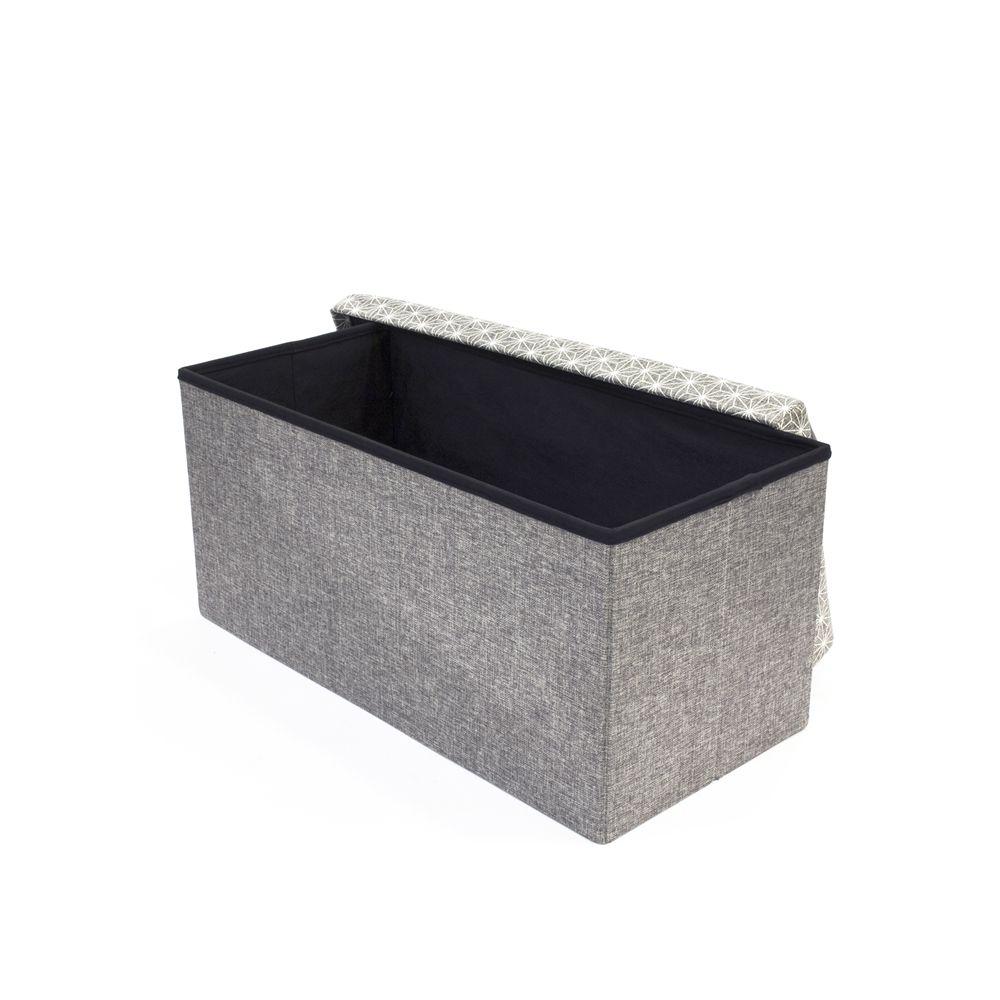 Panier Rangement Tissu Gris Clair : Coffre rangement banc tissu