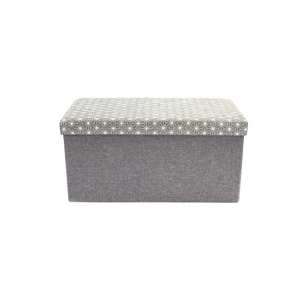 coffre rangement banc tissu gris. Black Bedroom Furniture Sets. Home Design Ideas