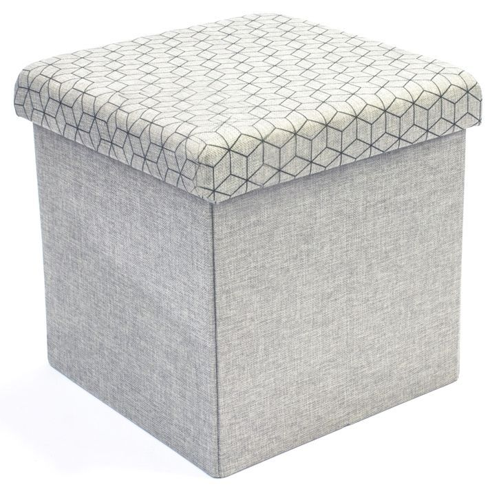 coffre rangement pouf tissu gris clair coffre de. Black Bedroom Furniture Sets. Home Design Ideas