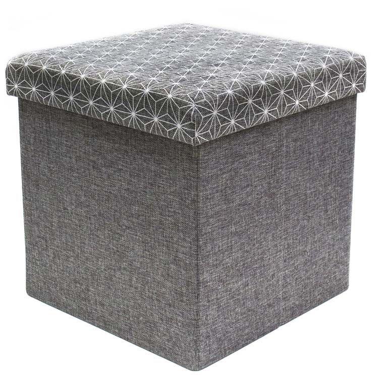 Coffre rangement pouf tissu gris anthracite ! Coffre de rangement ...
