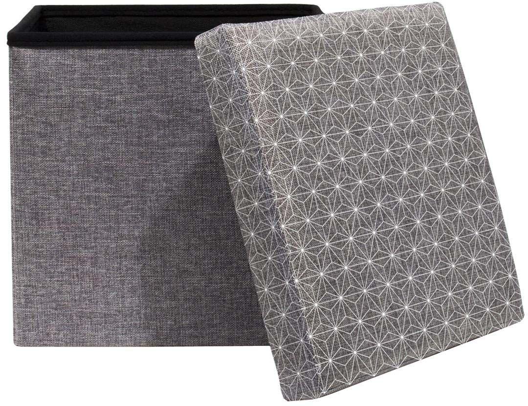coffre rangement pouf tissu gris anthracite coffre de rangement pouf sur jardind. Black Bedroom Furniture Sets. Home Design Ideas
