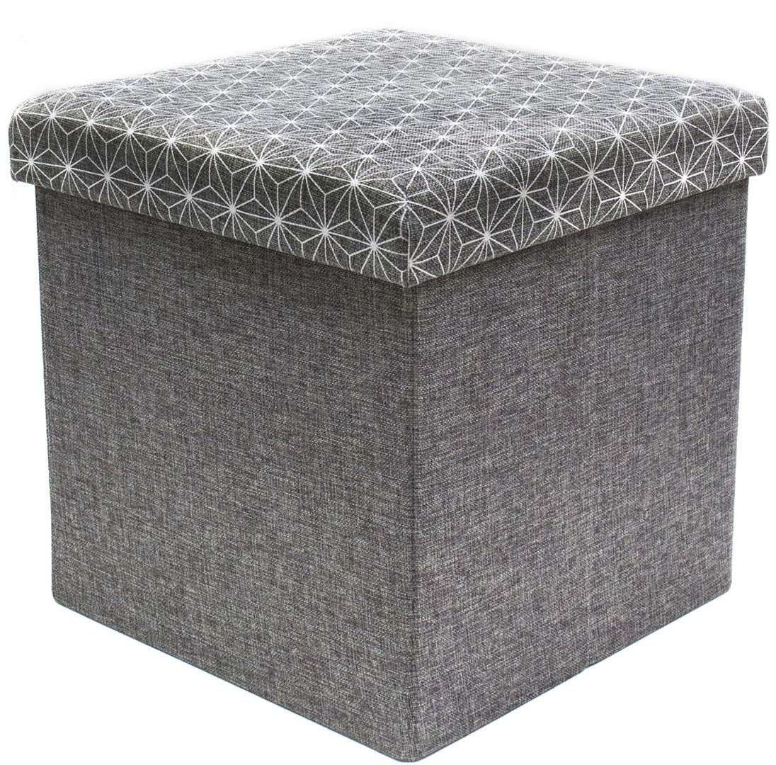 Coffre rangement pouf tissu gris anthracite ! Coffre de rangement pouf sur JardinDéco.com