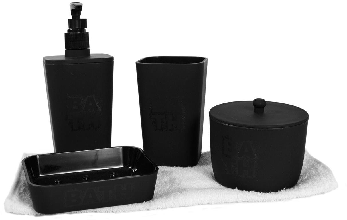 coffret 5 accessoires salle de bain bath noir. Black Bedroom Furniture Sets. Home Design Ideas