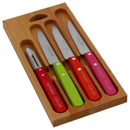 Coffret 4 couteaux de cuisine nogent color fabrication fran aise - Coffret couteaux de cuisine ...
