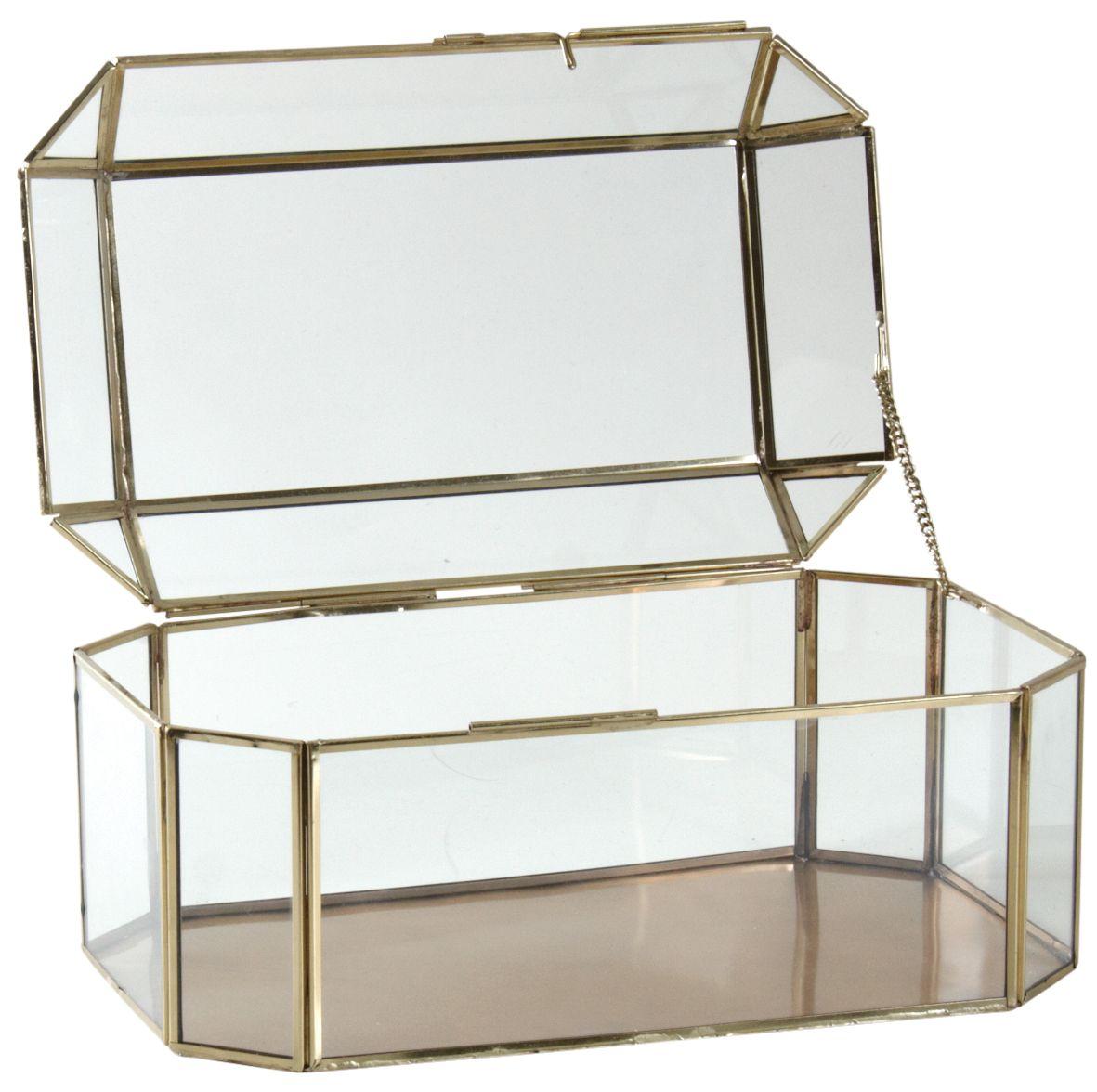 grand coffret bijoux en laiton et verre. Black Bedroom Furniture Sets. Home Design Ideas