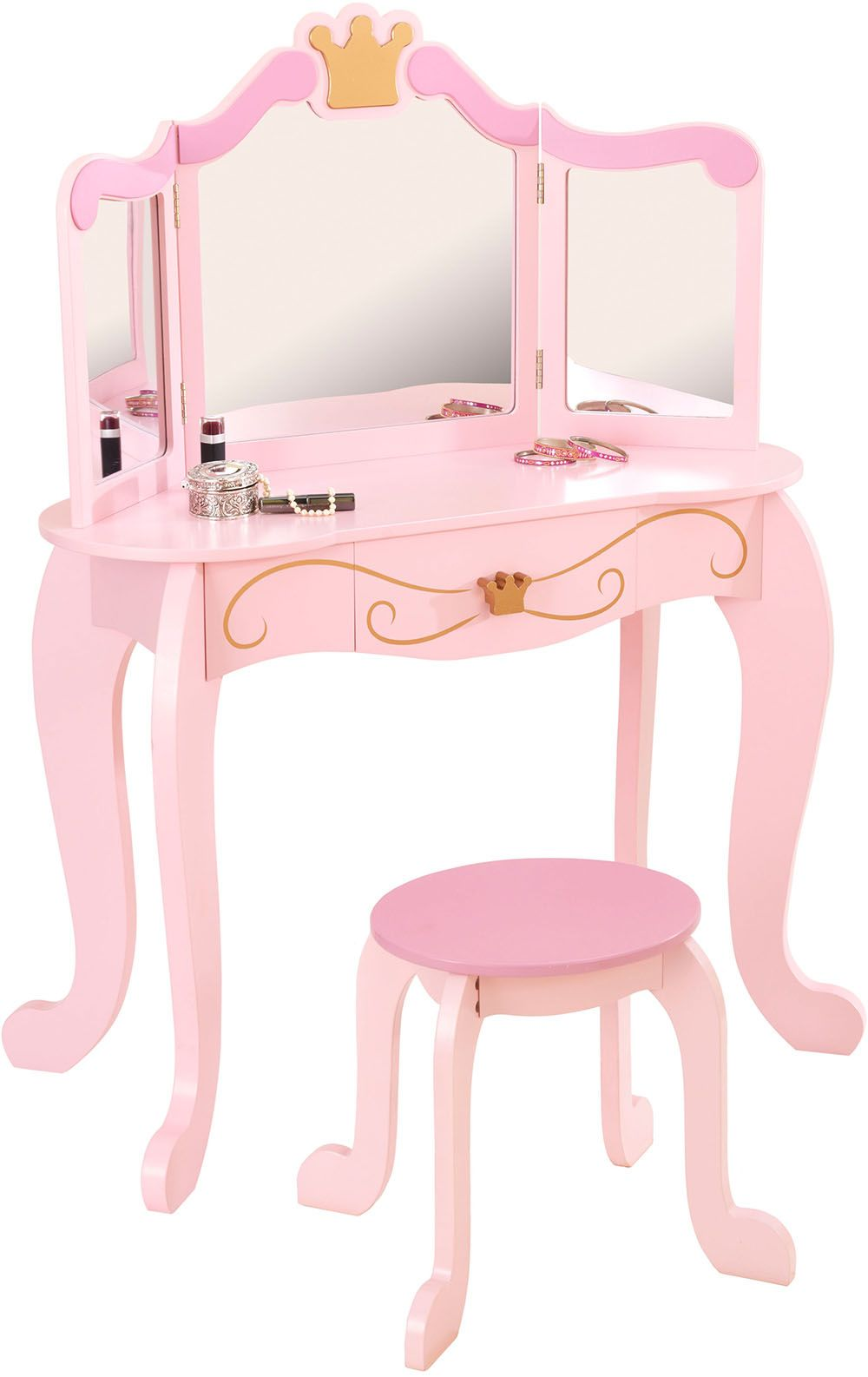coiffeuse en bois et tabouret rose pour enfant princess. Black Bedroom Furniture Sets. Home Design Ideas