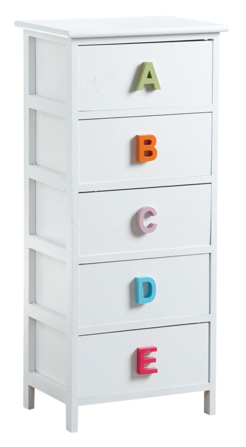commode alphabet 5 tiroirs. Black Bedroom Furniture Sets. Home Design Ideas