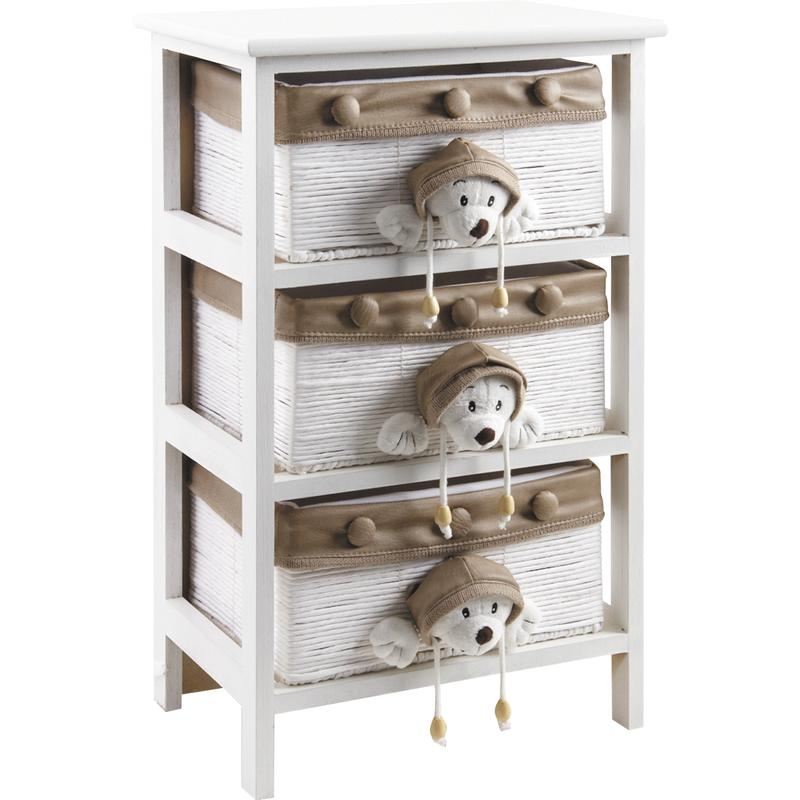 Commode enfant en bois blanc 3 tiroirs - Commode en bois blanc ...