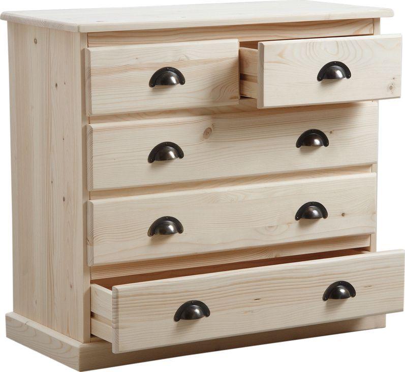 Commode 5 tiroirs en bois brut - Commode bois brut a peindre ...