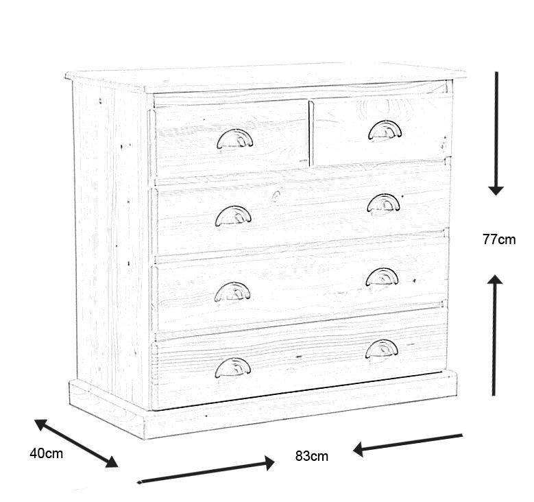 commode 5 tiroirs en bois brut. Black Bedroom Furniture Sets. Home Design Ideas