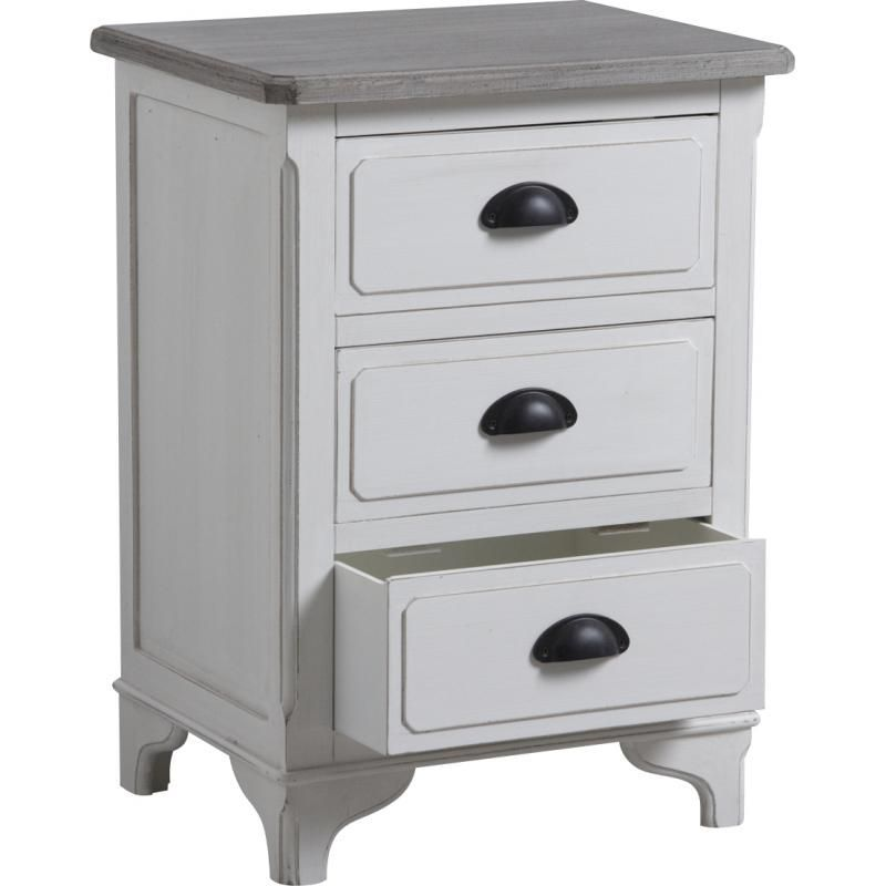 Commode 3 tiroirs en pin Campagne chic-2