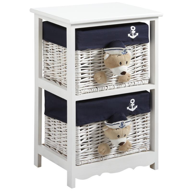 commode 2 tiroirs en bois et osier ourson. Black Bedroom Furniture Sets. Home Design Ideas