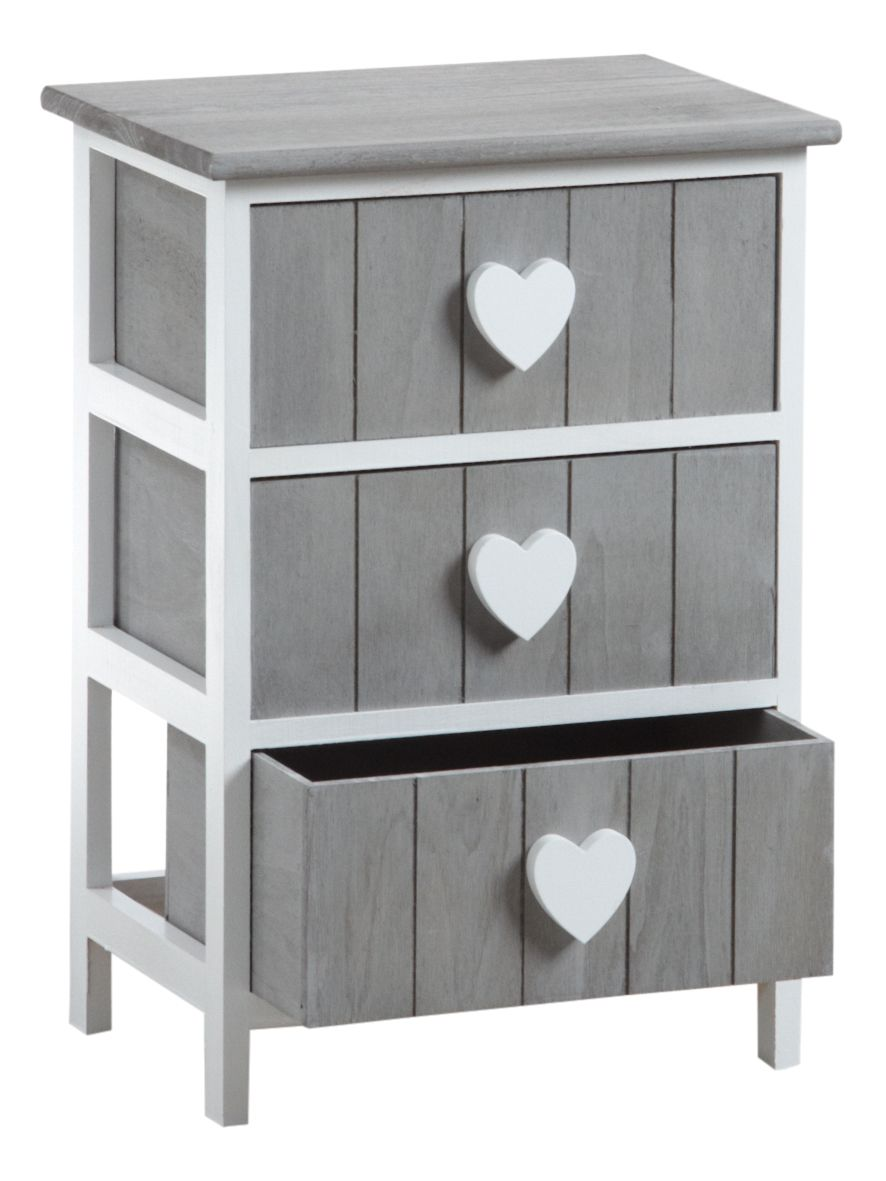 commode 3 tiroirs avec coeurs. Black Bedroom Furniture Sets. Home Design Ideas
