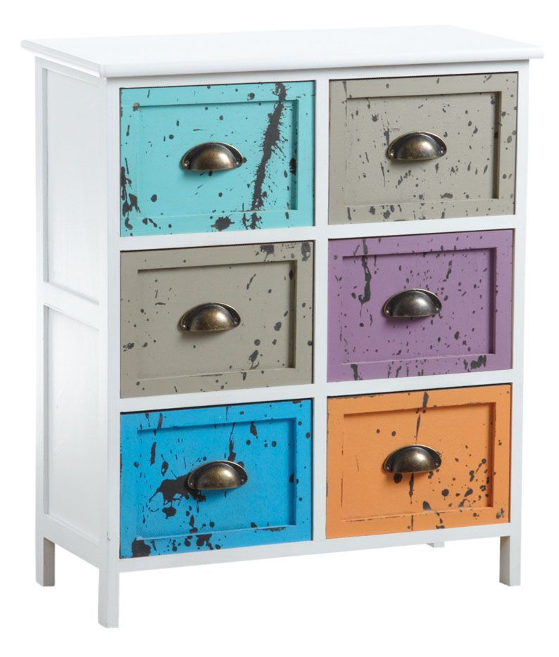 Commode 5 tiroirs multicolores