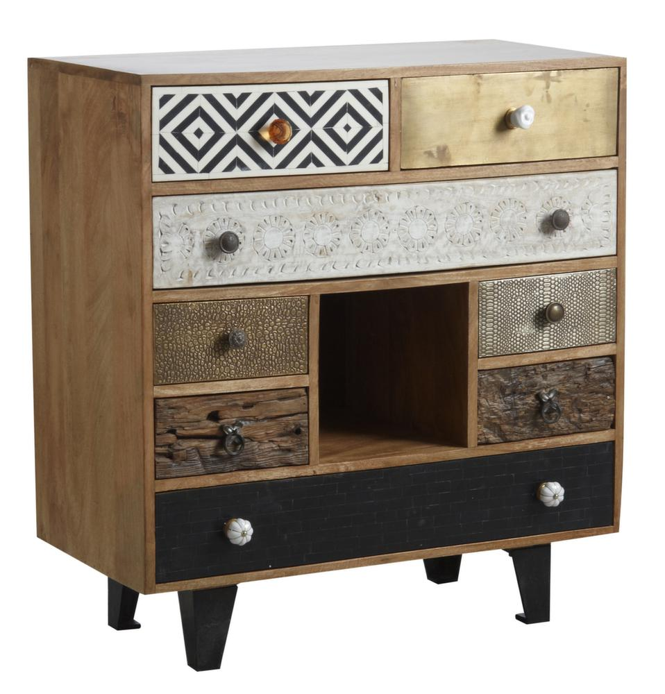 Commode 8 tiroirs 1 niche en manguier -> Commode Tv But