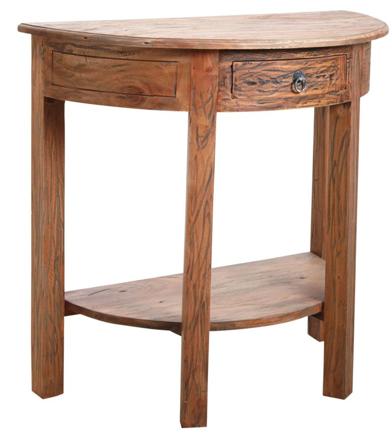 Console demi-lune en bois naturel antique