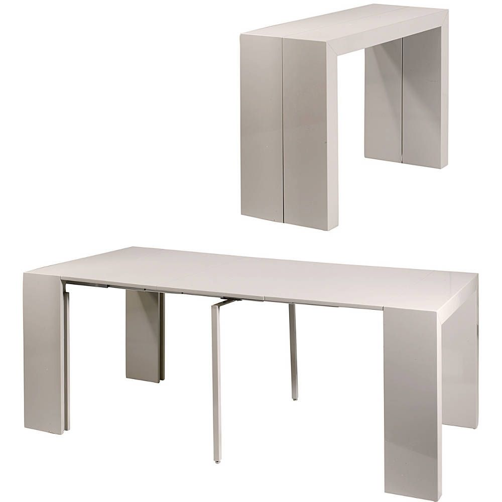 Console table salle manger oriane gris for Console transformable en table salle a manger