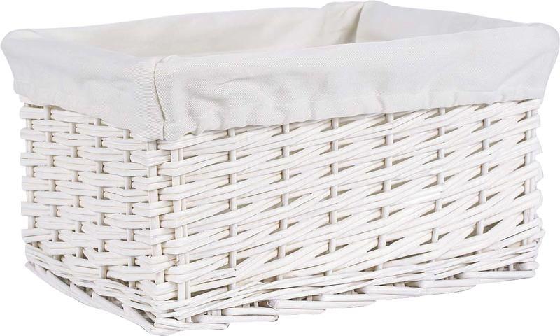 corbeille de rangement osier blanc. Black Bedroom Furniture Sets. Home Design Ideas