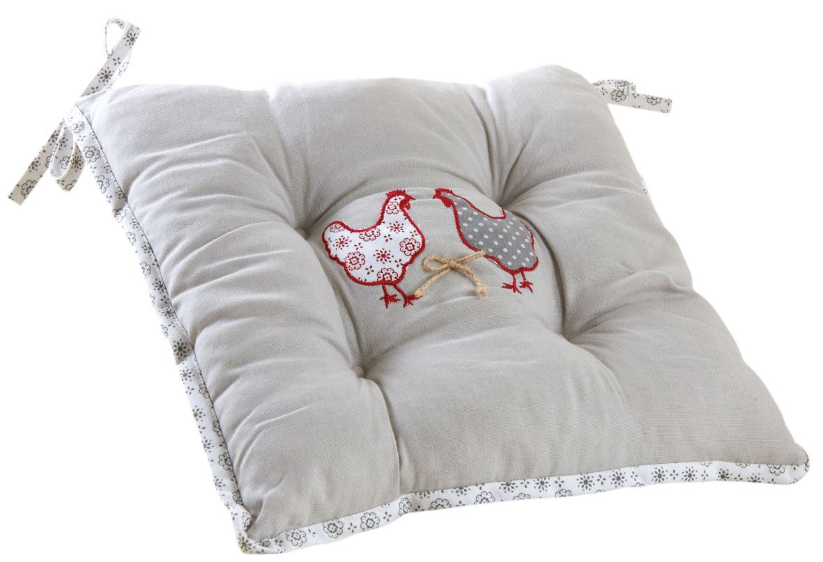 coussin pour chaise motif poule. Black Bedroom Furniture Sets. Home Design Ideas