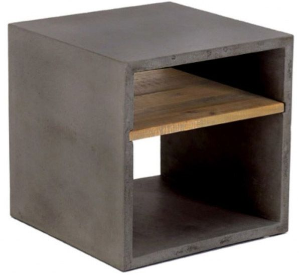 Cube 2 niches en b ton hermitage gris fonc - Prix du metre cube de beton ...