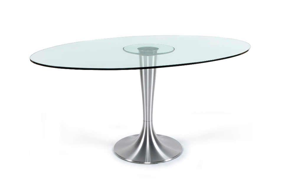 Table ovale en verre et aluminium 160x108x75cm