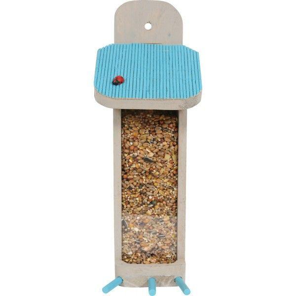 Distributeur de graines en bois bleu garden 27x10x10cm