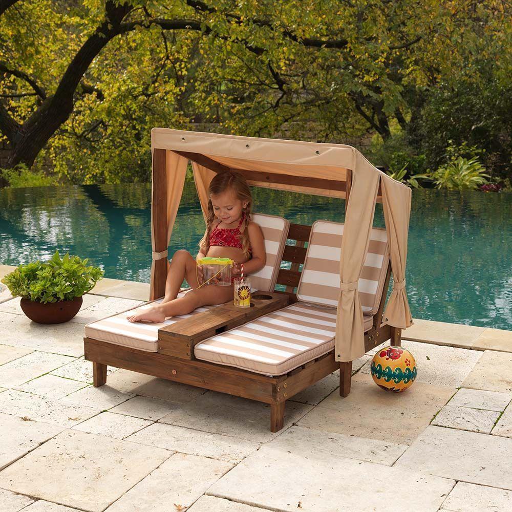 double chaise longue enfant avec porte gobelets coloris 2. Black Bedroom Furniture Sets. Home Design Ideas