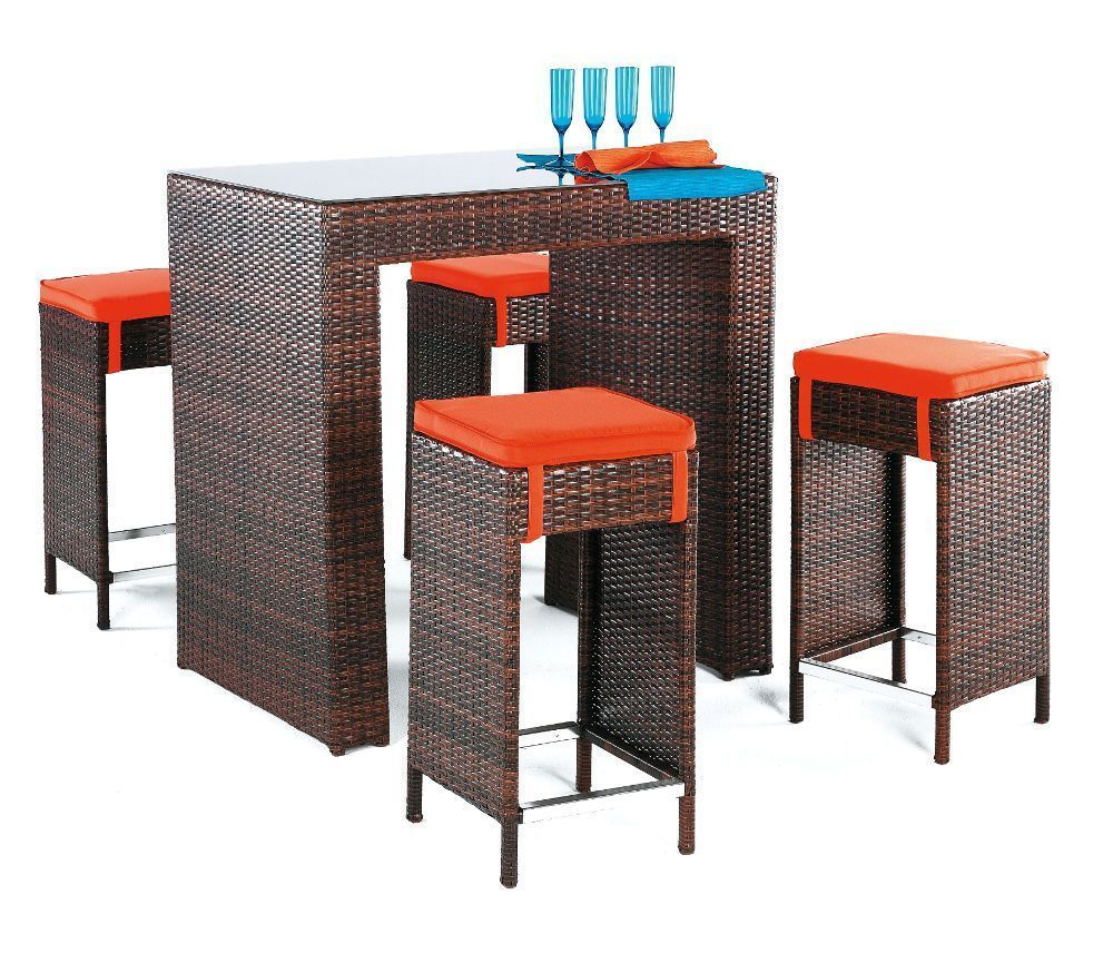 ensemble bar de jardin delphin marron et orange. Black Bedroom Furniture Sets. Home Design Ideas