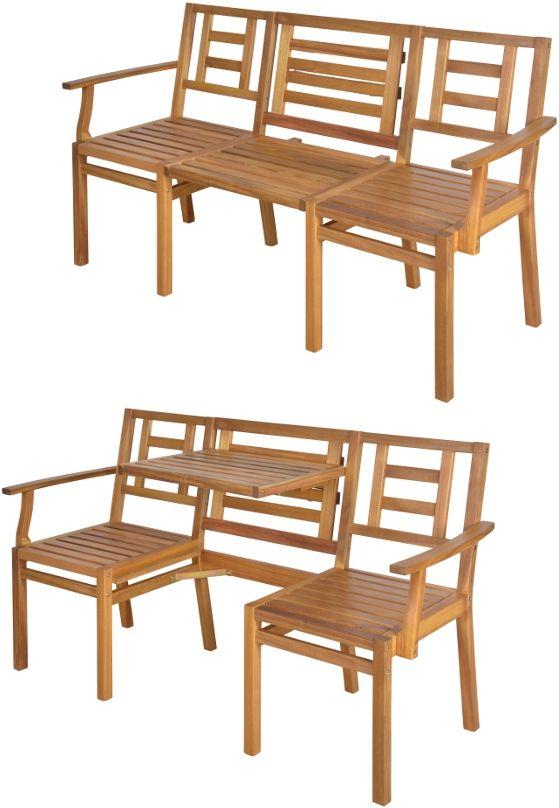 Banc De Jardin En Bois Convertible En Table 2 Chaises